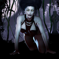 Вампир на кладбище, ночь