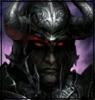 Черный рыцарь в рогатом шлеме